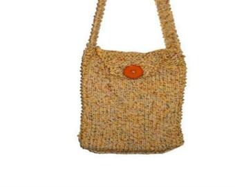 Crossbody Bag Knitted Shoulder Bag crochet finish, Extra Long Strap Knit tote bag