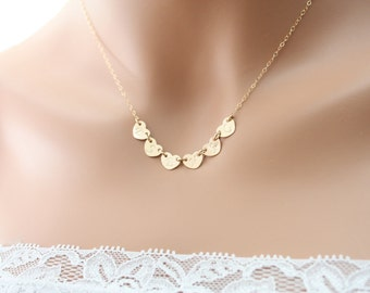 SIX Initial Hearts 14K gold filled necklace, family initials, with options to choose number of Heart , romantic delicate necklace