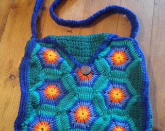 Colourful Handmade Crocheted Shoulder Bag