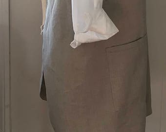 Washed Linen, Simple Smock Apron, Great for cook, artist, teacher, etc., Size Large