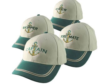 Nautical Star Anchor Captain and Crew Embroidery Adjustable Emerald Green and Beige Structured Baseball Cap Options to Personalize Boat Name