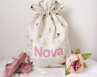 Belle & Boo fabric ballet bag - fully lined, with appliqué personalisation