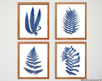 Blue Fern Leaves, Botanical Study, Indigo White Decor, Blue Watercolor Leaf Prints, Bedroom Art, Naturalist Art, British Colonial Decor