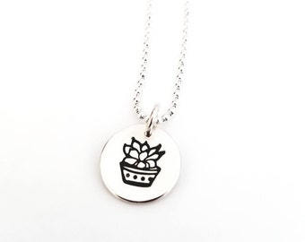 Succulent Charm Necklace, Sterling Silver Succulent Charm Necklace