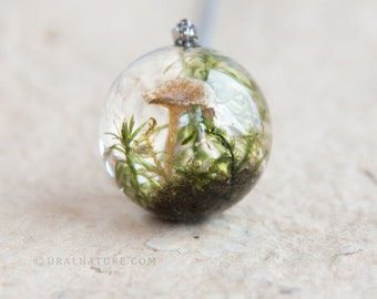 Forest necklace ⇷25mm⇸ Resin Sphere   Necklace with mushroom and moss   Whimsical Lichen and Moss in clear resin   Unusual sphere