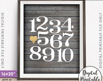 """Numbers Wall Art Playroom Art Nursery Decor, Heart, Counting Sign, Gold Glitter, Instant Download 8x10/16x20"""" Rustic Wood Style Printable"""