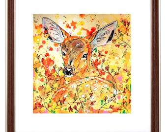 Fawn wall art, woodland art, deer art print, woodland decor, deer decor, fawn, stag, nursery decor