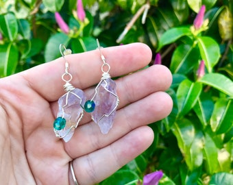 Healing Crystal Amethyst Earrings with Tarnish Resist Wire ans Hypoallergenic Earring Posts, Yoga Mala Health Jewelry
