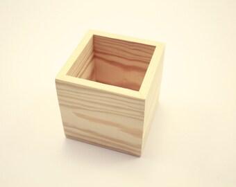"""Wooden Box UNFINISHED 5x5x5 Wedding Centerpiece Flower Box Organizer Storage  Planter (5""""x 5""""x 5"""" Box. Unfinished)"""