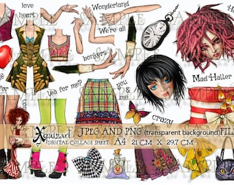 Collage Sheet - Wonderland Mad Hatter - Printable JPEG and PNG