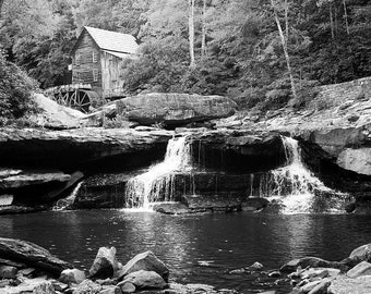 Monochrome Waterfalls At Glade Creek Mill - West Virginia - Coopers Mill - Nature Landscape Wall Art - Home Decor