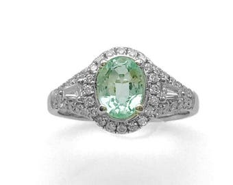 2.07cttw OvalRussian Emerald AND Diamond Ring