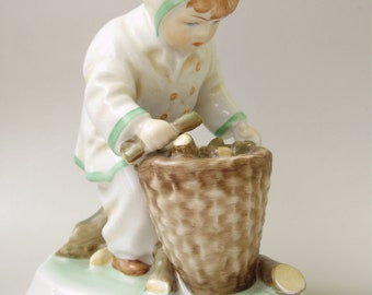 Large,Vintage,Hungarian, ZSOLNAY porcelain child w.basket,hand painted
