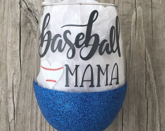 Baseball Mama Wine Glass, Glittered Wine Glass, 21oz Wine Glass, Custom Glitter Glass, Wine Glass, Mom Wine Glass, Baseball Mom Wine Glass