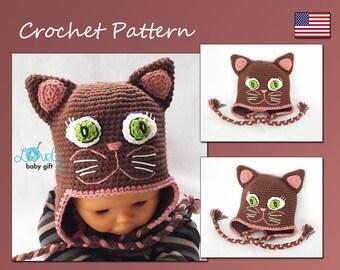 Kitty Hat Crochet Pattern, Crochet Hat Pattern, Earflap Winter Animal Hat, CP-305