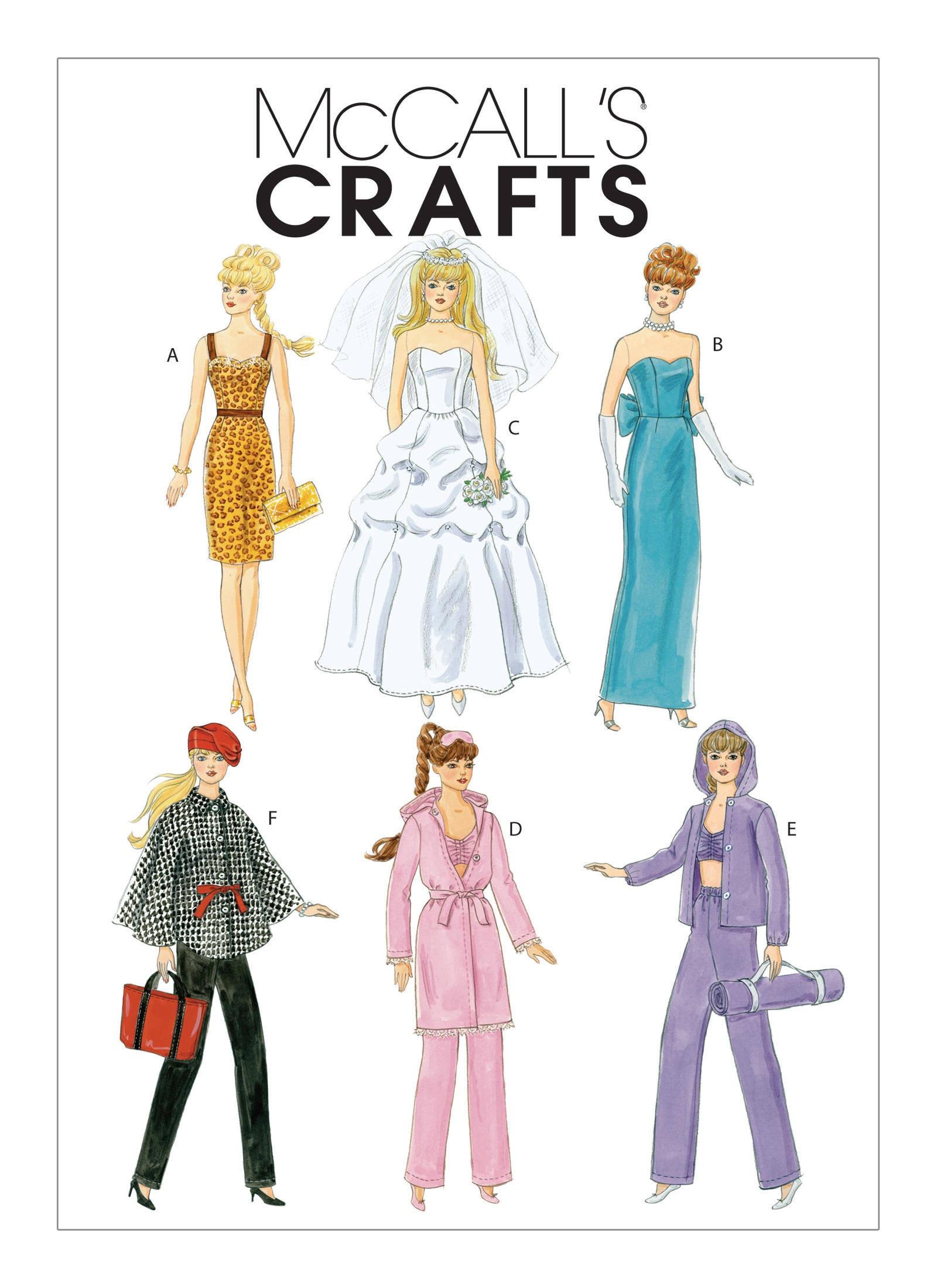 M6258 De McCall moda muñeca ropa patrones para hacer ropa de Barbie ...