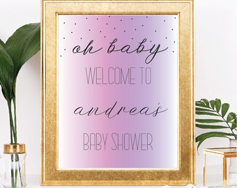 Oh Baby Welcome Baby Shower Sign - Customizable Text - Pink and Purple Watercolor  - Printable - 8.5x11 Digital Download