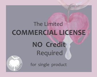 Commercial license no credit, commercial license clipart, commercial licence watercolor clipart, commercial license