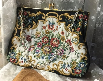 Charming Signed Du Val Floral Tapestry Evening Purse 1960's 1970's Gold Tone Frame Chain Handle Made in Hong Kong Black Lining Feminine