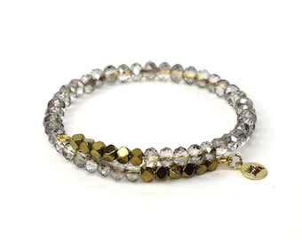 Gold Hematite and Silver Crystal Glass Beaded Adjustable Bracelet