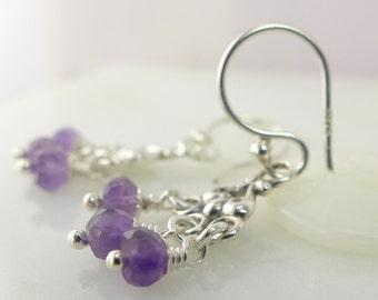 Sterling Silver Earrings. Dangling. Amethyst. Little Purple Stone. -Liz