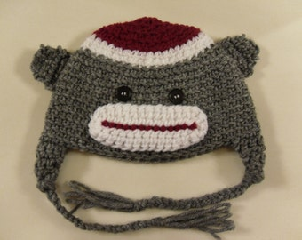 Crocheted Sock Monkey Face Hat/Beanie Sock Monkey Hat