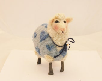 Sheep, Needle Felted Lammies in Blue Heart Jammies, I Love Ewe Sheep # 3493