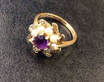 14ct gold amethyst and pearl ring