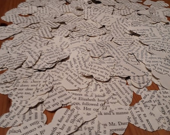 Over 750 confetti hearts punched from Pride and Prejudice by Jane Austen- party table scatter confetti - wedding table decoration