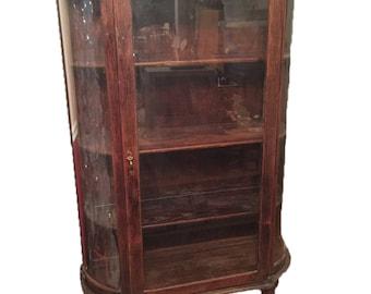 Antique Half Round Display Curio China Cabinet Original Wavy