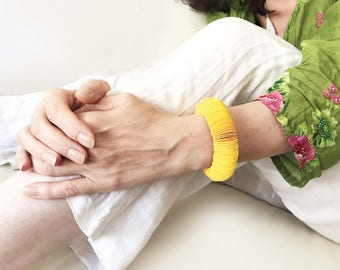 Yellow bangle bracelet, paper jewelry, paper colorful bracelet, young girl gift
