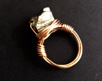 Fool's Gold Pyrite and Bronze Wire Wrapped Ring
