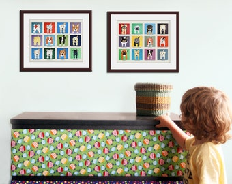 Baby nursery decor kids art. SET OF 2 Puppy nursery art print. Kids wall art. Kids decor. Dog art by WallFry