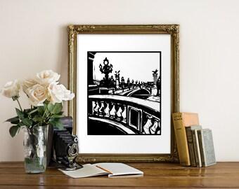 Pont Alexandre III Giclee Print - Paris, France - Woodcut Style - Paris Landmark, Parisian Bridge, French Art, Parisian Art, Black and White