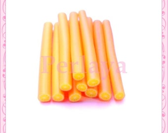 Set of 10 orange REF489 fimo canes