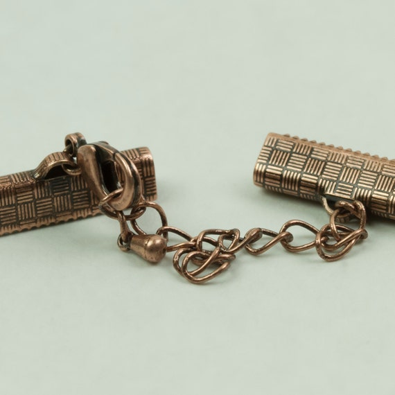 """Crimp Clasp 20mm Ribbon Crimp Clasp with lobster claw and extension chain Copper in Color 1 set, 2 pieces Approx 3/4""""inch"""