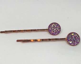 Rose Gold Purple Sparkle Druzy Hairpin Bobby Pins in Rose Gold Setting