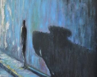 SERGIO IANNIELLO  Film Noir Series 5 Original acrylic Painting Hollywood expressionist landscape wall art