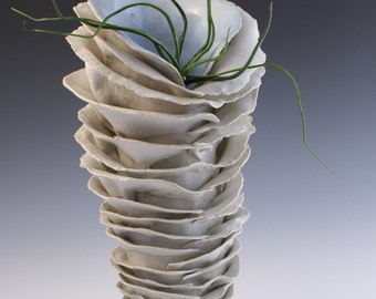 SALE. Natural Porcelain ceramic white sculpture. Large statement vase, functional art by Chelsea Mae