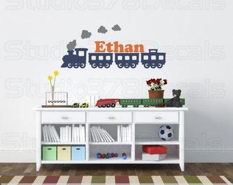 Train Wall decal | Nursery Train Decal | Personalized Wall Monogram | Children Room Decor | Boys Train Room Decor | Playroom Train Decal