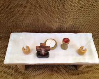 Mini Altar Set With Wood Table and  Polymer Clay Pieces Mass -Made to Order