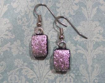 Dichroic Pink Earrings, Dangle Earrings, Fused Glass Jewelry, Pink Fused Glass Earrings, Pierced or Clip On - Bayleigh  -7