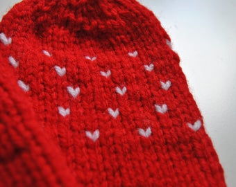 Custom tiny heart mittens - toddler to adult sizes