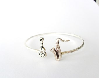 Guitar music bracelet with a Saxophone wrap style