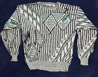 Vintage Geometric Abstract Line Knitted Sweatshirt 90s