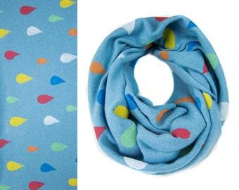 Rain Drops Infinity Scarf - Hand Printed Sweatshirt Fleece Circle Scarf in Heather Turquoise Blue and Multi Rainbow Q