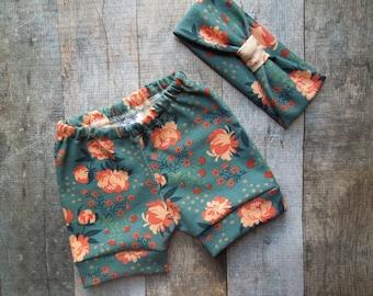 Organic Baby Girl Clothes, Baby gift set, Headband pant set,  Headband, Baby Shorts, Newborn Outfit, Baby Girl Clothes, Going Home Outfit