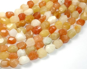 Old Yellow Jade, (7-8) mm x (9-10) mm Faceted Nugget Beads, 15.5 Inch, Full strand, Approx 42-45 beads, Hole 1 mm, A quality (440020002)