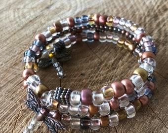 Coppermix Czech Glass Memory Wire Bracelet with Dragonfly charms