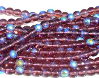 Deep Amethyst AB 6mm round Czech Glass Beads  50
